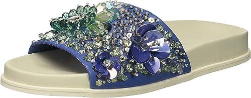 Kenneth Cole New New York Wohommes Xenia Embellished Pool Slide Sandal, bleu Multi, 8 M US