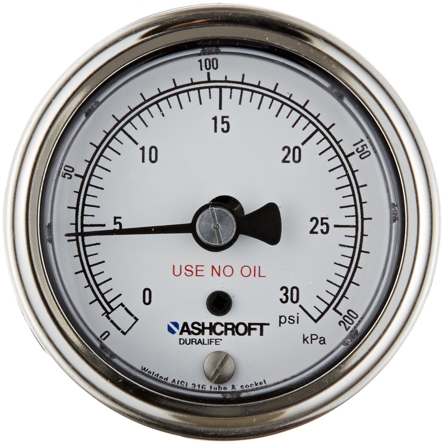 Ashcroft Duralife Max 58% OFF Type 1009SW Austin Mall Stainless Pr Dry Case Steel Filled