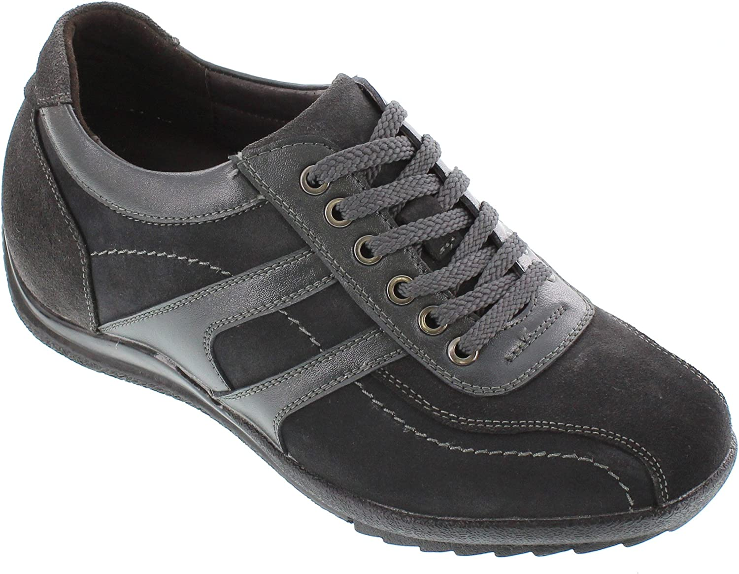CALTO Men's Invisible Height Increasing Elevator shoes - Nubuck Charcoal Grey Leather Lace-up Lightweight Casual Fashion Sneakers - 2.8 Inches Taller - G60972