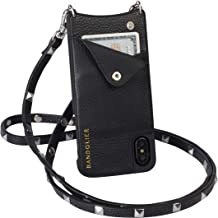 Bandolier Sarah Crossbody Phone Case and Wallet - Black Leather with Silver Detail - Compatible with iPhone 8 Plus, 7 Plus, 6 Plus, 6s Plus Only