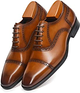 Men's Dress Shoes Oxford Formal Modern Leather Shoes for Men 10 Brown