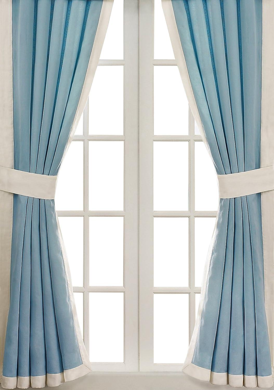 bluee Curtains For Living Room ,  Coastal Curtains For Bedroom , Coastline Jacquard Grommet Window Curtains , 42x84 , 2-Panel Pack