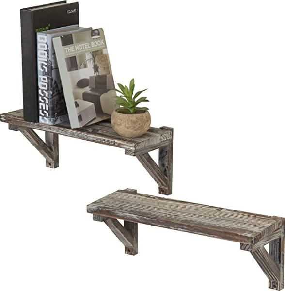 MyGift Rustic Torched Wood Wall Mounted Storage Display Shelves With Wooden Brackets Set Of 2