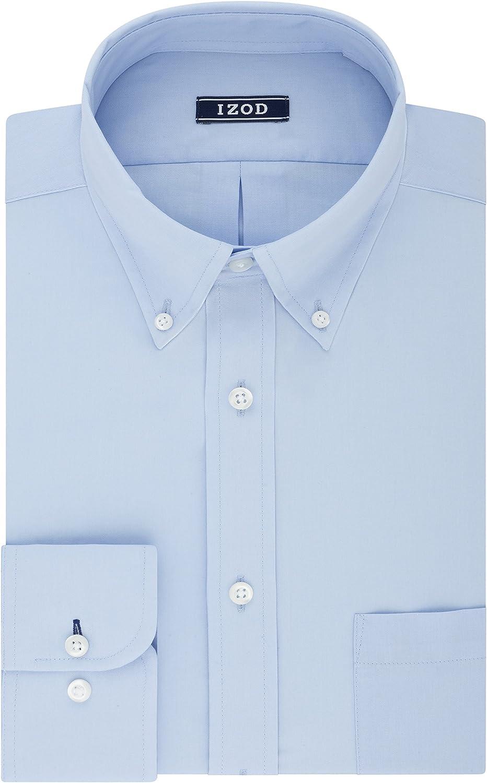 IZOD Men's Dress Shirt Regular Fit Stretch Solid Button Down Collar