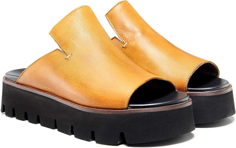 Lofina Women's Leather Wedge Slider Sandals Yellow