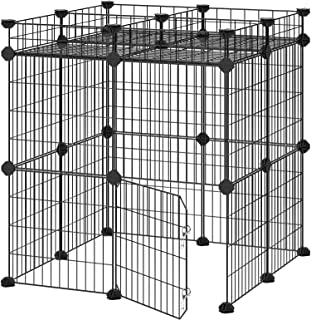 SONGMICS Pet Playpen Includes Zip Ties, Upgrade Customizable Animal Fence with Storage, Door, Metal Wire Pen Fence for Small Animals, Bunnies, Rabbits, Puppy Guinea Pigs, for Indoor Use ULPI03H