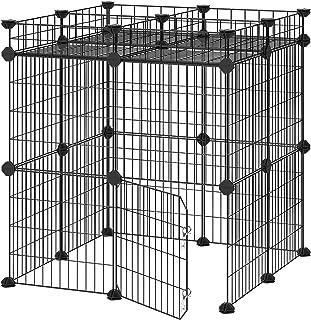 SONGMICS Pet Playpen Includes Zip Ties, Upgrade Customizable Animal Fence with Door, Metal Wire Pen Fence for Small Animal...