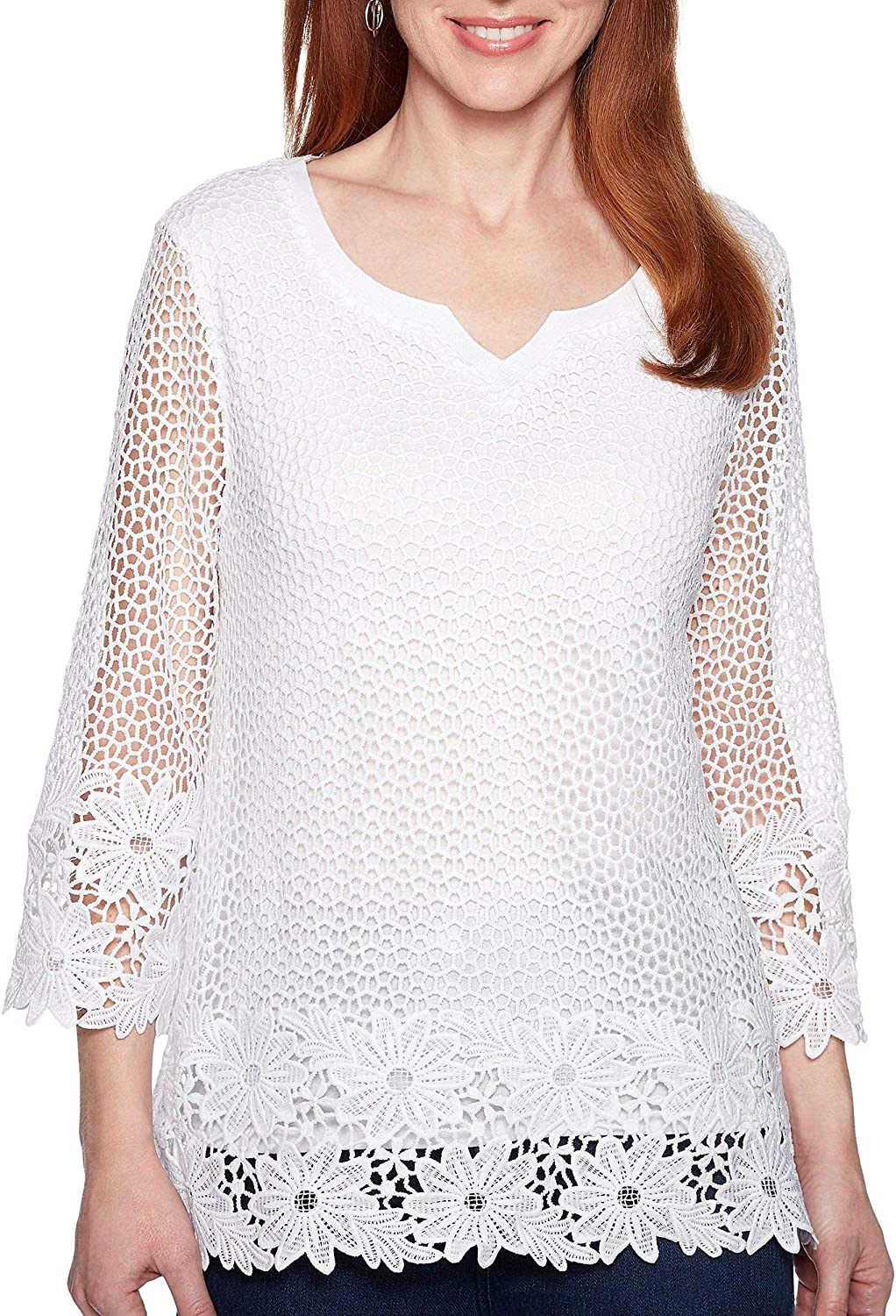 Alfred Dunner Women's Smooth Sailing Crochet Lace Tunic Top