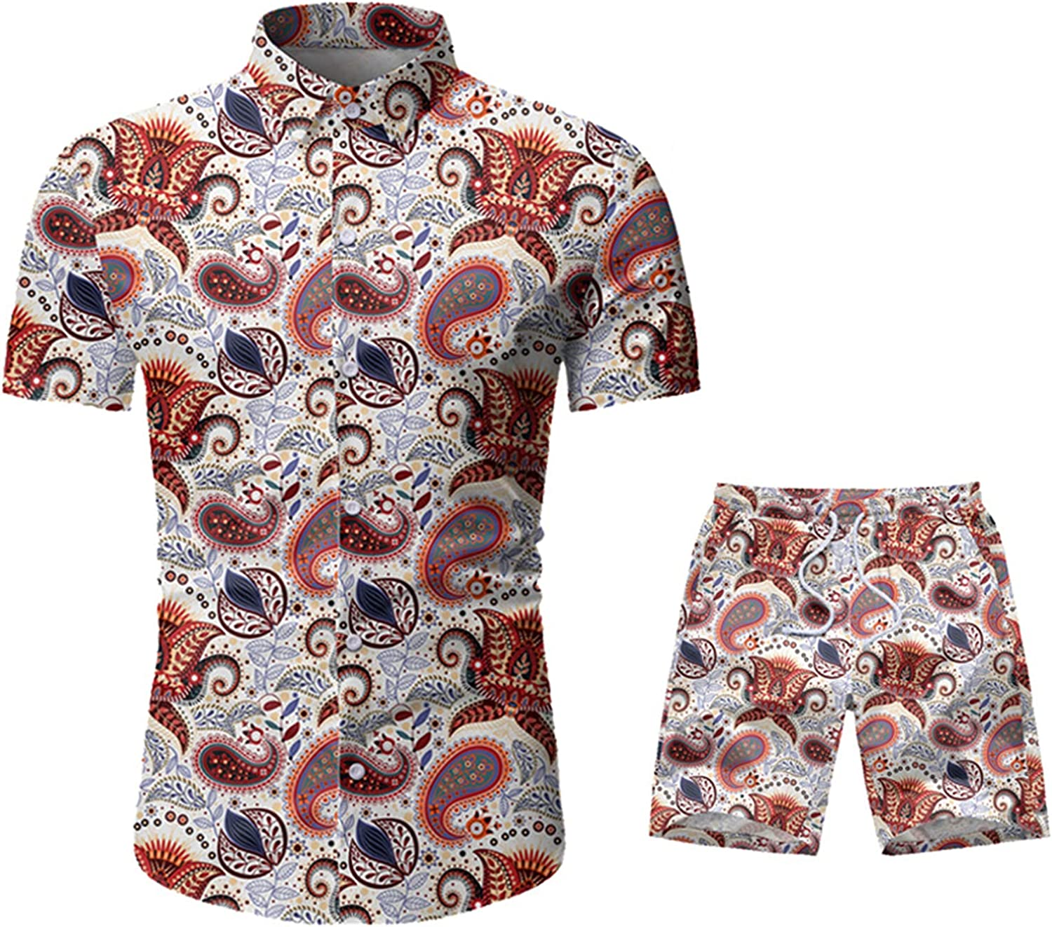 Men Summer 2-Piece Beach Hawaiian Sets Fashion Printed Casual Suits Tropical Beach Short-Sleeved Outfit Suits