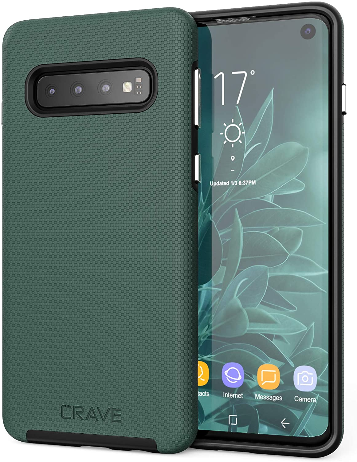 Crave Dual Guard for Samsung Galaxy S10 Case, Shockproof Protection Dual Layer Case for Samsung Galaxy S10 - Forest Green