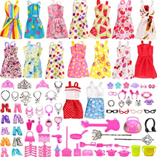 Miunana Lot 123pcs Doll Clothes Dress and Accessories Set, Radom 15 Clothes Party Grown Outfits +...