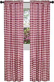 GoodGram Buffalo Check Plaid Gingham Custom Fit Window Curtain Treatments - Assorted Colors & Sizes (Burgundy, Single 63 in. Panel)