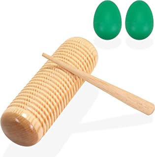 SPLENDIDMODE Guiro Wood Percussion Instrument - Pine Training Musical Tone Block Rasp with Wood Scraper - Complete with Se...