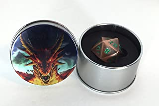 Druid Forge 35mm d20 Dragon Egg dice - Chaotic Copper - Antique Copper with Green Numbers