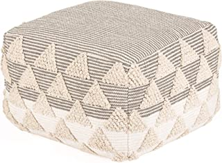 Madeleine Home Lucy Hand Woven Pouf   Stylish Accent Ottoman Pouffe  100% Cotton Hassock Floor Cushion for Under Desk, Entry Way, Living Room, Bedroom, Dining   20