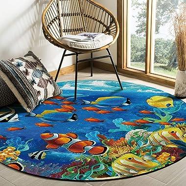 Ocean Theme Area Rug Round Rugs 3ft, Underwater World Fish Sea Collection Area Runner Circle Rug (Non-Slip) Carpets Kids Livi