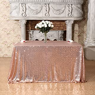 Poise3EHome 50x50 Square Sequin Tablecloth for Party Cake Dessert Table Exhibition Events, Rose Gold