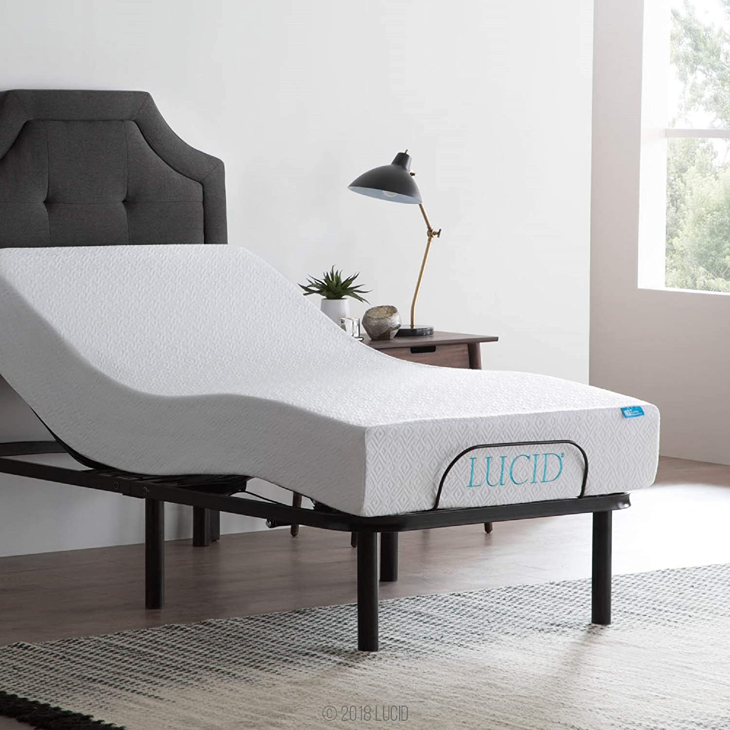 LUCID L100 Adjustable Bed Base Steel Minute Assembly 5 Fresno Mall Frame Fixed price for sale -
