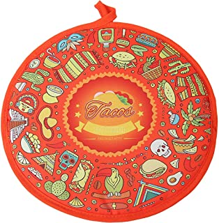DOKKIA Tortilla Warmer 12 Inch Insulated Cloth Pouch - Microwavable Use Fabric Bag to Keep Food Warm for up to One Hour (12 Inch, Taco Fiesta Themed Party Cinco De Mayo)