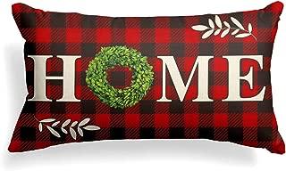 AVOIN Boxwood Wreath Home Throw Pillow Cover, Christmas Valentine Day Buffalo Check Plaid 12 x 20 Inch Farmhouse Linen Cushion Case Decoration for Sofa Couch