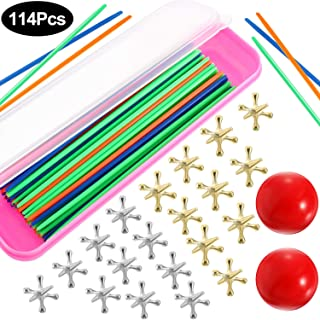 2 Sets Jacks Game Toys Kits with Pick Up Sticks, Including 2 Pieces Red Rubber Balls, 20 Pieces Jacks and 90 Pieces Pick Up Sticks for Teens and Adults