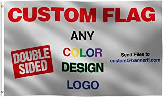 Custom Double Sided Flag: 100% Polyester Banner with Strong Canvas Header - For Any Color, Design, Image, or Business Logo - UV Resistant Vibrant Digital Print - For Outdoor or Indoor Use (3x5 ft)