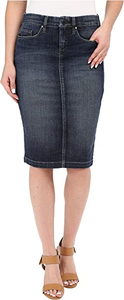 Denim Pencil Skirt in Denim Blue