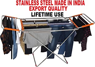 VEEN LIFETIME Stainless Steel Foldable Cloth Stand for Drying Clothes | Cloth Drying Stand for Bedroom | Fold-able Space Saver Stand | Make in India (Pipe Stand - Orange)