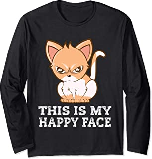 Cat Lover Gift This Is My Happy Face Grumpy Kitten Long Sleeve T-Shirt