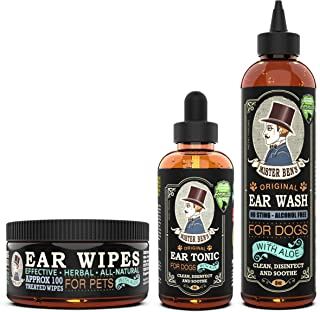Sponsored Ad - MISTER BEN'S Original Ear Care Kit + Wipes for Dogs - Most Effective Dog Ear Cleaners - Includes Tonic, Was...
