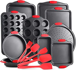 kovalenthor Nonstick Carbon Steel Bakeware Set - 15-Piece Baking Tray Set With Silicone Handles - Oven Safe Cookie Sheets,...