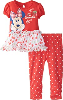 Disney Baby Minnie Mouse niña Flor Legging Set con Peplum Parte Superior