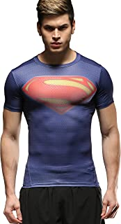 Red Plume Men's Compression Tights Fitness Shirt, Casual Quick-Dry Sports T-Shirt