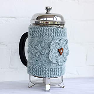 Holiday Table Decor, Hand Knit French Press Cozy Wool Flower Cover Tea Pot, Home Decor, Housewarming Gift, Knitting Accessories