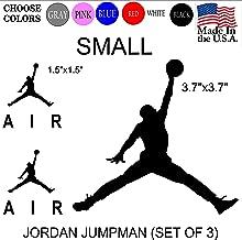 Set NBA Jordan 23 AIR Jumpman Logo Huge Flight Vinyl Decal Sticker - Car Window, Laptop, Wall, Mac (Small,Black)
