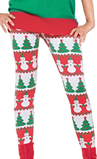 Forum Novelties Women's Snowman and Christmas Tree Adult Leggings