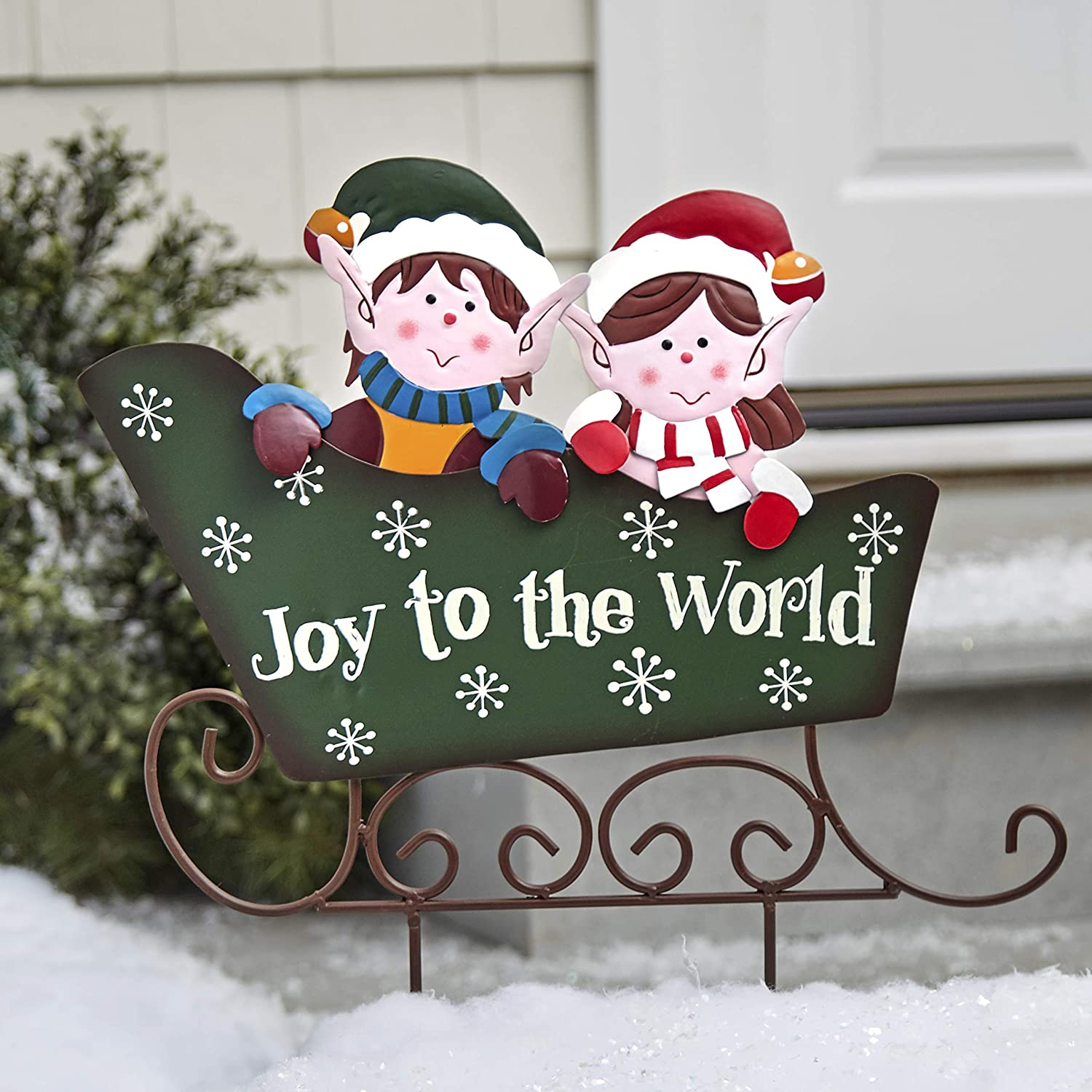 Metal Sleigh Stake For Christmas With Retro Elves Joy To The World Green Garden Outdoor
