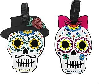 2 Pack Identificador de Maletas de Mexicano Estilo Día de Muertos Etiquetas de Identificación de PVC Tarjeta para Maleta de Viaje