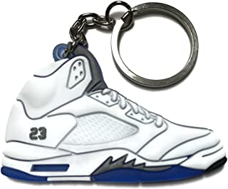 dc2fd6c06bff63 Air Jordan Retro 5 White Blue Gray Shoe Keychain Collectable