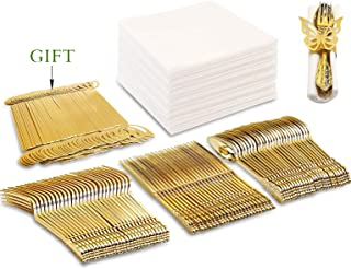 NERVURE 50PCS Gold Plastic Silverware Set-  Gold Plastic Cutlery- Disposable Flatware  for Party- Includes 50 Forks,50 Spoons,50 Knives,50 Napkins and  50 Butterfly Napkin Rings as Gift.