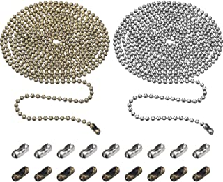 TecUnite 2 Pieces 3.2 mm Beaded Pull Chain Extension with Connector, Each 10 Feet Beaded Roller Chain with 10 Matching Connectors (Multicolors A)