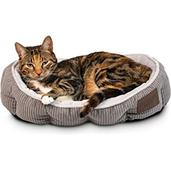 Simple Sleeper Self Warming Cute Calming Cat Bed With Ultra Soft Luxury Plush Including Refillable Catnip Pouch - Perfect for Indoor Cats