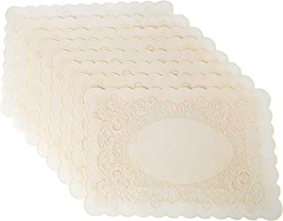 Sana Enterprises Spill Proof Vinyl Placemats Bordered with Raised Floral Design and Scalloped Edges, Lite Beige Color, Set of 8, 12 x 18 Inches, Wipe Clean, Use Indoor or Outdoors