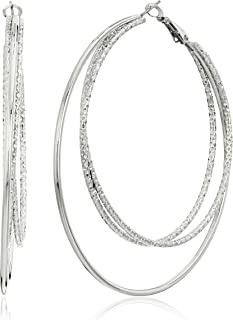 GUESS Womens Triple Wire Clutchless Hoop Earrings