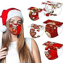 50 Piezas Estilo de Tema de Navidad Adulto_Mascarilla Desechable, Patrón de alces de moda Transpirable y Confortable Bufanda