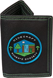Minecraft Miner's Society Nylon Tri-Fold Wallet, Multi-Colored, One Size, with Coin Pocket