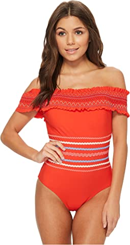 Red Carter In Stitches Smocked Off Shoulder One-Piece Swimsuit