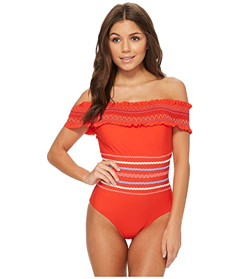Red Carter In Stitches Smocked Off Shoulder One-Piece Swimsuit, RED