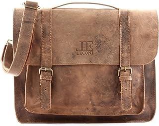 LECONI Messenger Bag Aktentasche DIN A4 Collgetasche Damen Herren Echtledertasche Retro Vintage Leder 37x30x10cm LE3055