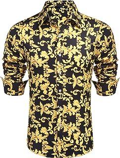 Daupanzees Mens Long Sleeve Fashion Luxury Design Print Dress Shirt